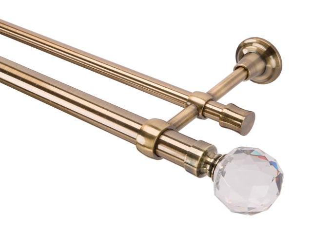 Karnisz Tende Crystal podwójny 28/19mm kula antyczny mosiądz 200 Mardom