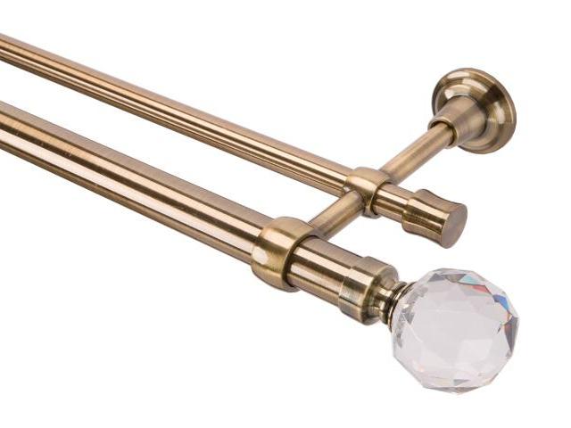 Karnisz Tende Crystal podwójny 28/19mm kula antyczny mosiądz 240 Mardom