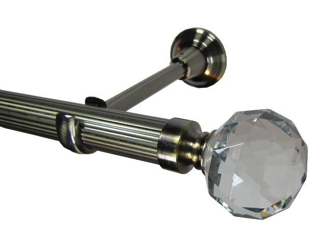 Karnisz Tende Crystal ryflowany zakończenie kula pojedynczy 28mm antyczny mosiądz 200 Mardom