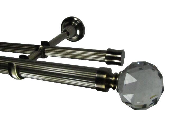 Karnisz Tende Crystal ryflowany zakończenie kula podwójny 28mm antyczny mosiądz 240 Mardom