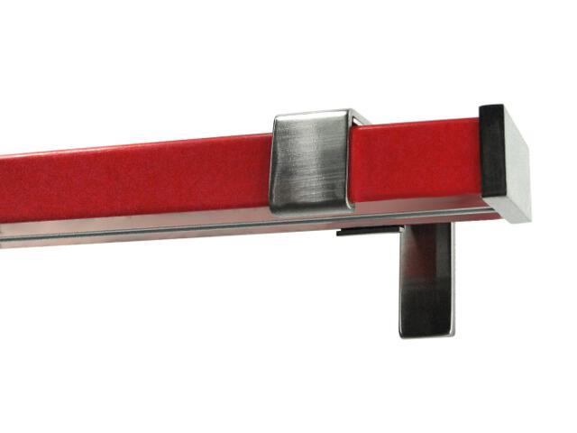 Karnisz Quadrato pojedynczy efekt stali czerwony 160 Mardom