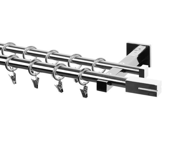 Karnisz Italia podwójny 20/16mm zakończenie proste chrom 240 Mardom