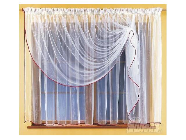 Firana Mela 5747 360x180 biało-bordowa Wisan