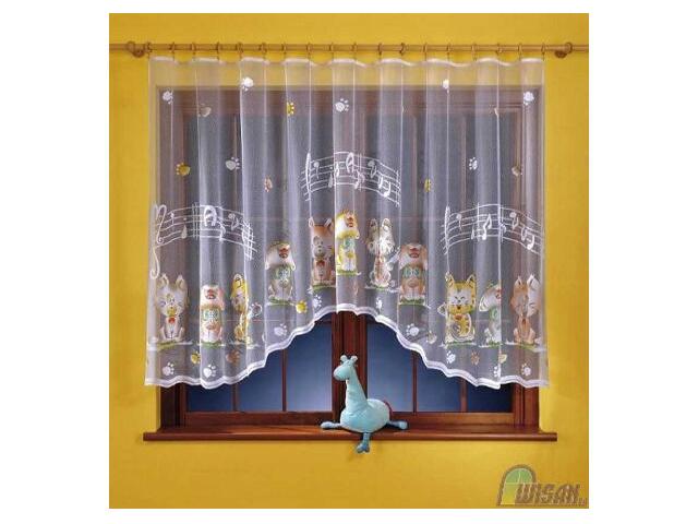 Firana Śpiewające koty A116 300x150 biała malowana Wisan
