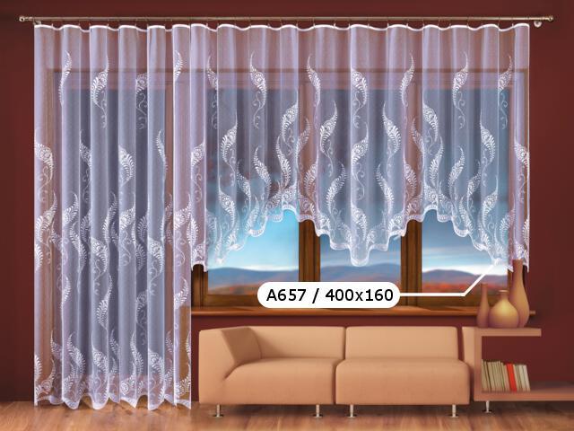 Firana Paprocie II A657 400x160 biała Wisan