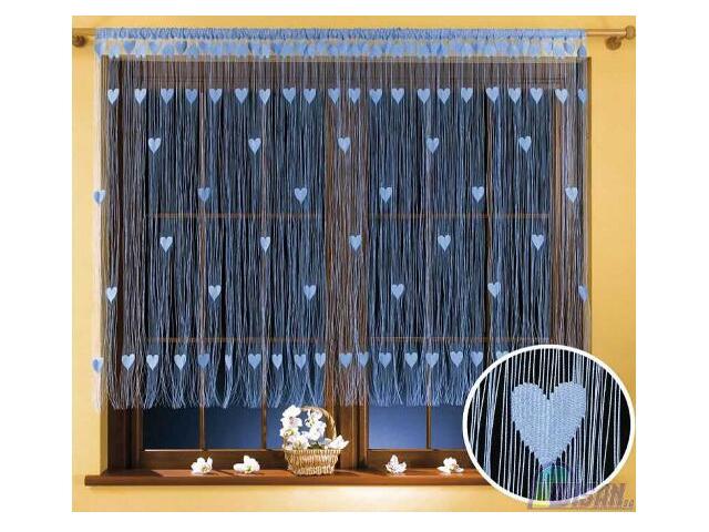 Firana sznurkowa makaron Walentynka 9918 270x150 niebieski Wisan