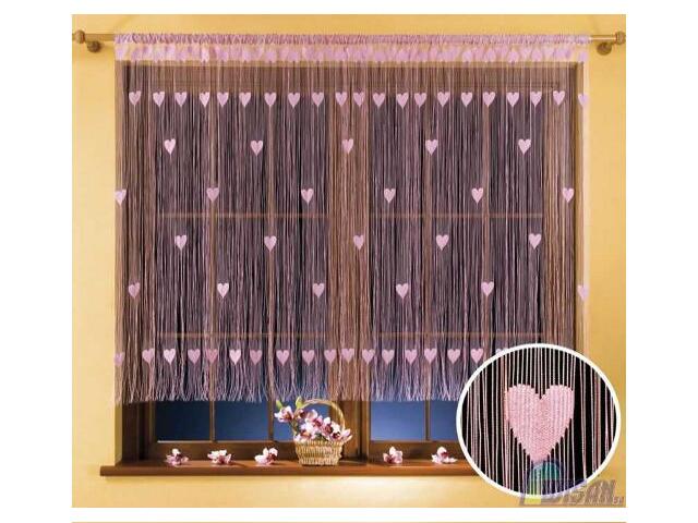 Firana sznurkowa makaron Walentynka 9931 270x170 różowy Wisan