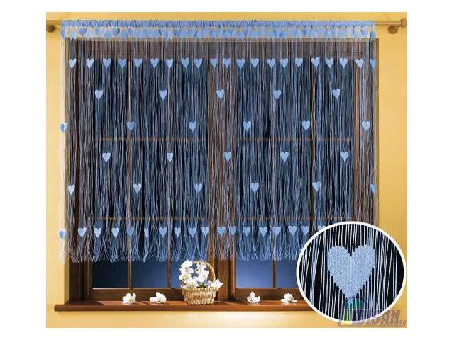 Firana sznurkowa makaron Walentynka 9931 270x170 niebieski Wisan
