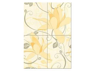 Płytka ścienna Artiga cytrynowa flower 50x70 Cersanit