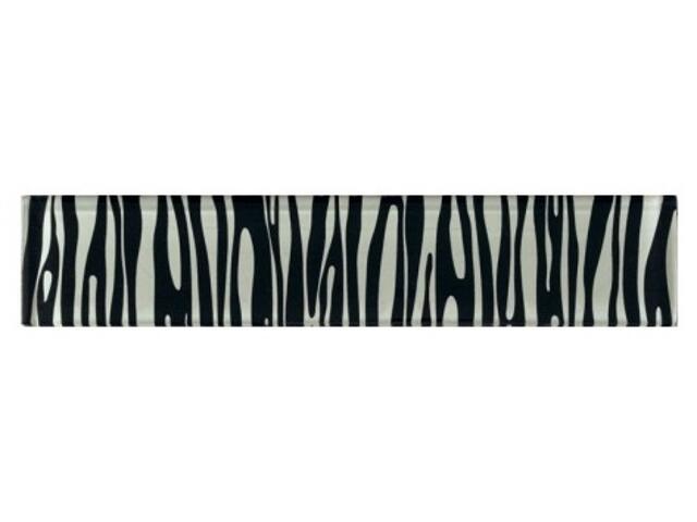 Płytka ścienna zebra czarna glass 29,7x6