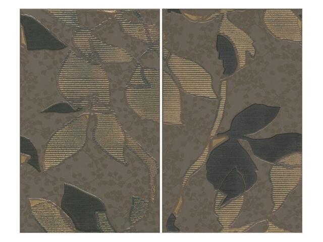 Płytka ścienna Liryka brown inserto liście 40x50