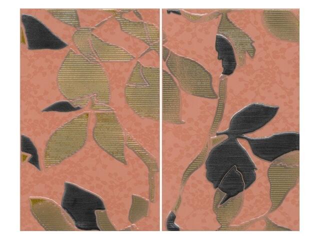 Płytka ścienna Liryka rosa inserto liście 40x50