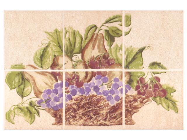 Płytka ścienna Ariza bianco kompozycja owoce 20x30