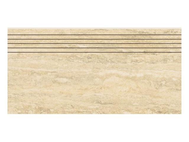 Gres Travertino Silver stopnica nacinana 29,8x59,8 lappato My Way