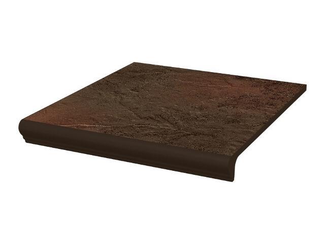 Klinkier Semir Brown stopnica z kapinosem prosta strukturalna 30x33 Paradyż
