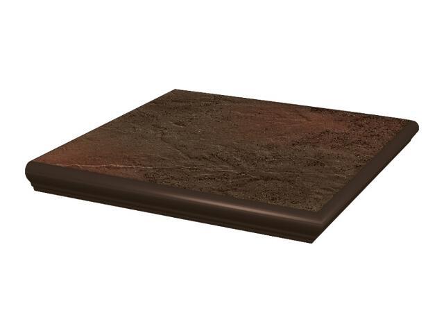 Klinkier Semir Brown stopnica z kapinosem narożna strukturalna 33x33 Paradyż