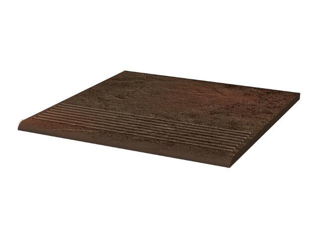 Klinkier Semir Brown stopnica ryflowana prosta strukturalna 30x30 Paradyż