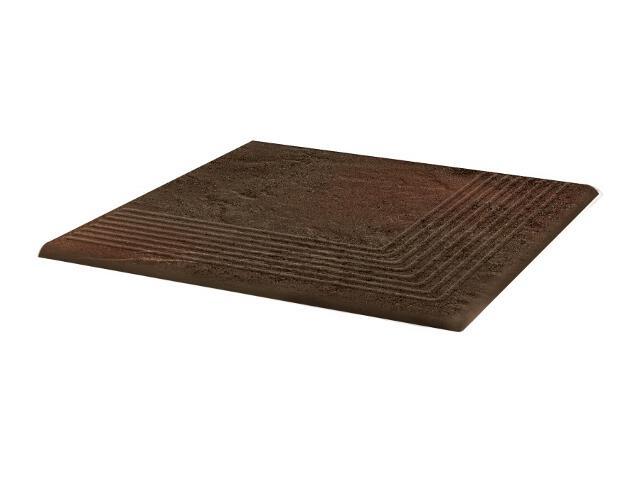 Klinkier Semir Brown stopnica ryflowana narożna strukturalna 30x30 Paradyż