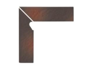 Klinkier Shadow brown cokół schodowy lewy strukturalny 3-d 30x8 Opoczno