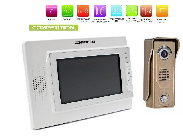 """Videodomofon kolorowy 7"""" LCD głośnomówiący MT320C-CK2W+SAC5C-CK Competition"""