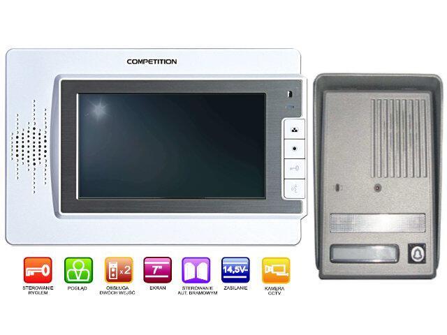 """Videodomofon kolorowy 7"""" LCD głośnomówiący MT320C-CK2W+SAC25C-CK Competition"""