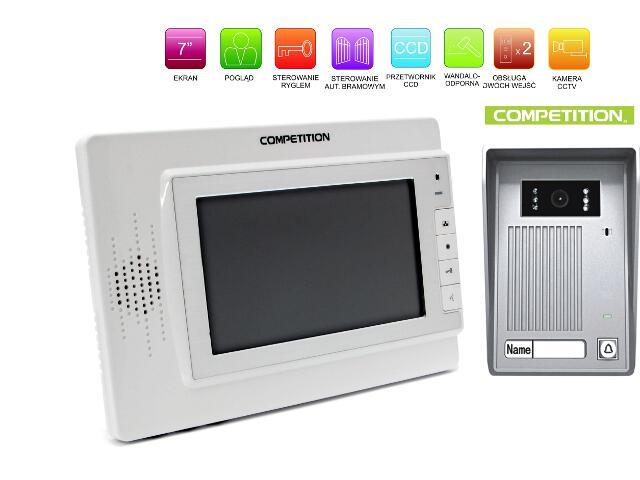 """Videodomofon kolorowy 7"""" LCD głośnomówiący MT320C-CK2W+SAC35C-CK Competition"""