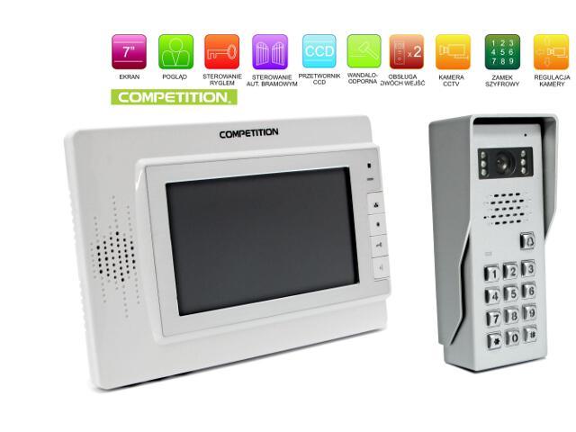 """Videodomofon kolorowy 7"""" LCD głośnom. + zamek szyfr. MT320C-CK2W+SAC50C-CK Competition"""