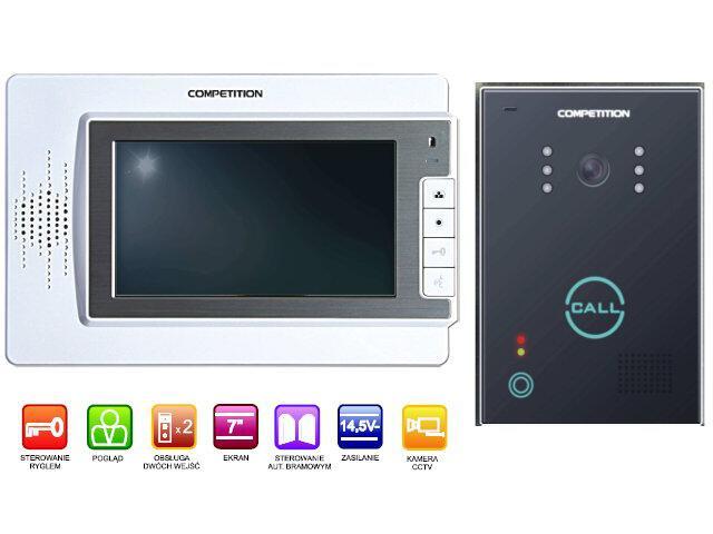"""Videodomofon kolorowy 7"""" LCD głośnomówiący MT320C-CK2W+SAC651C-CK Competition"""