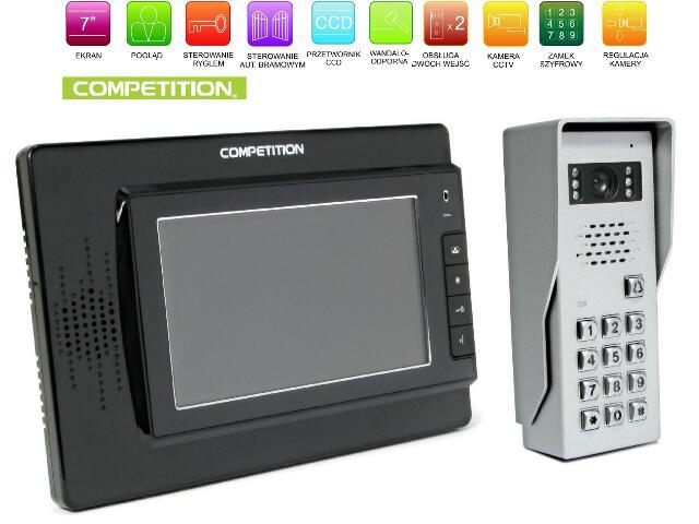"Videodomofon kolorowy 7"" LCD głośnom. + zamek szyfr. MT320C-CK2B+SAC50C-CK Competition"
