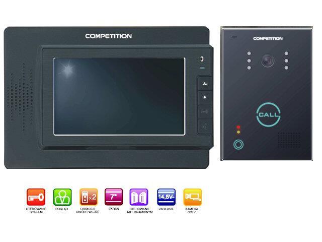 "Videodomofon kolorowy 7"" LCD głośnomówiący MT320C-CK2B+SAC651C-CK Competition"