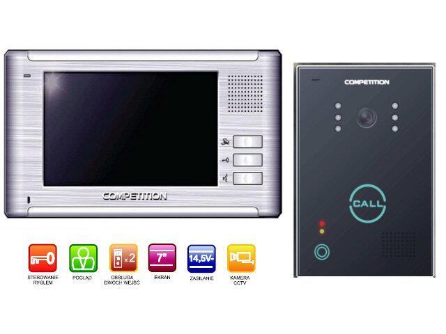 "Videodomofon kolorowy 7"" LCD głośnomówiący MT337C-CK2+SAC651C-CK Competition"