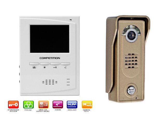 "Videodomofon kolorowy 4"" LCD głośnomówiący MT395C-CK2+SAC5C-CK Competition"