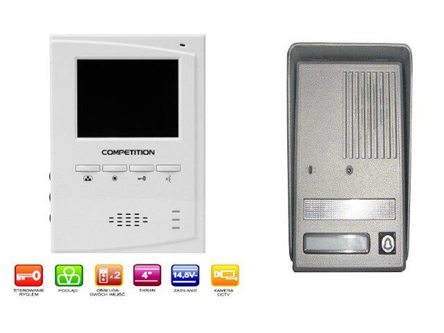 "Videodomofon kolorowy 4"" LCD głośnomówiący MT395C-CK2+SAC25C-CK Competition"