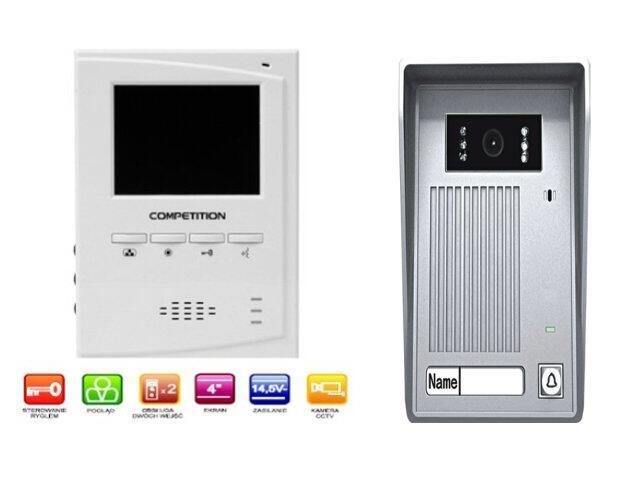 "Videodomofon kolorowy 4"" LCD głośnomówiący MT395C-CK2+SAC35C-CK Competition"
