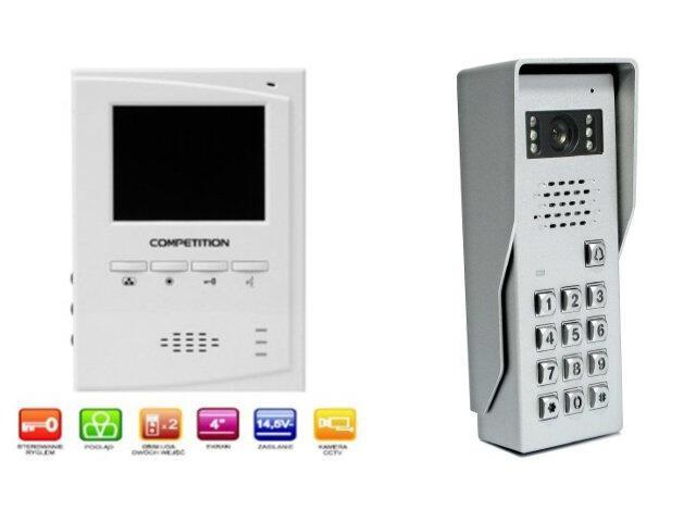 "Videodomofon kolorowy 4"" LCD głośnom. + zamek szyfr. MT395C-CK2+SAC50C-CK Competition"