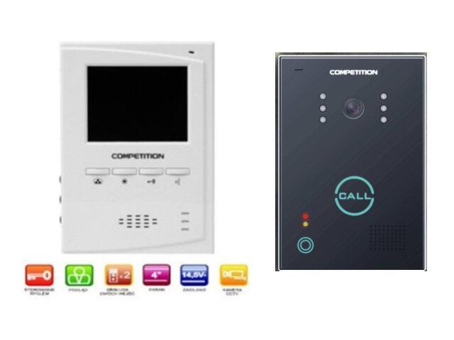 "Videodomofon kolorowy 4"" LCD głośnomówiący MT395C-CK2+SAC651C-CK Competition"