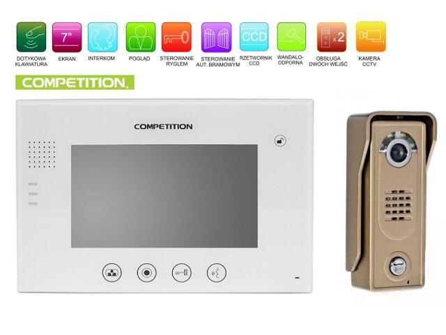 """Videodomofon kolorowy 7"""" LCD głośnomówiący MT670C-CK2W+SAC5C-CK Competition"""