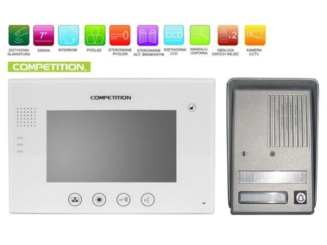 """Videodomofon kolorowy 7"""" LCD głośnomówiący MT670C-CK2W+SAC25C-CK Competition"""