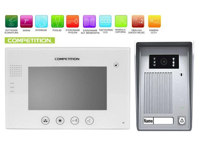 """Videodomofon kolorowy 7"""" LCD głośnomówiący MT670C-CK2W+SAC35C-CK Competition"""