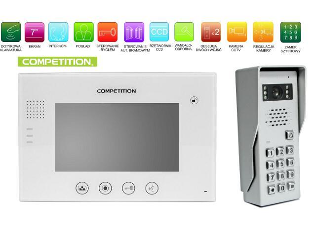"""Videodomofon kolorowy 7"""" LCD głośnom. + zamek szyfr. MT670C-CK2W+SAC50C-CK Competition"""