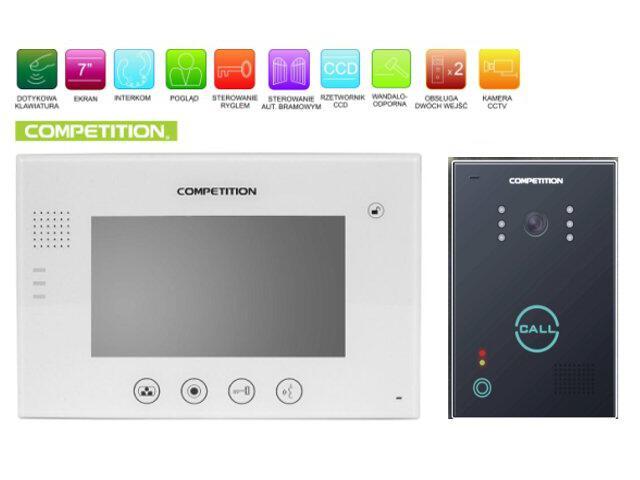 """Videodomofon kolorowy 7"""" LCD głośnomówiący MT670C-CK2W+SAC651C-CK Competition"""