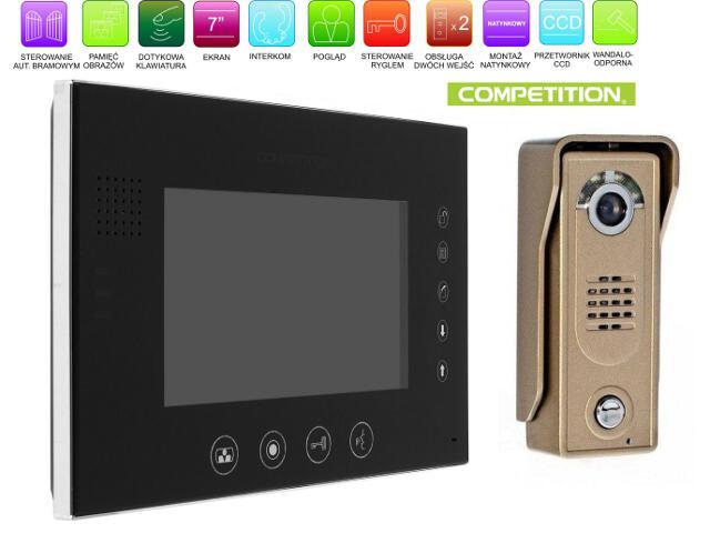 """Videodomofon kolorowy 7"""" LCD głośnom z pamięcią na 100 zdjęć MT670C-CK2S1B+SAC5C-CK Competition"""