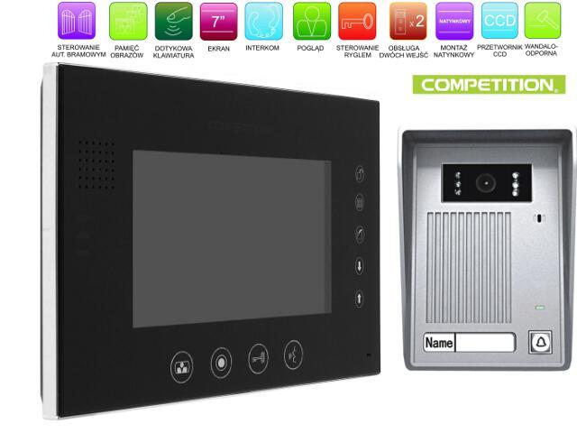 """Videodomofon kolorowy 7"""" LCD głośnom z pamięcią na 100 zdjęć MT670C-CK2S1B+SAC35C-CK Competition"""