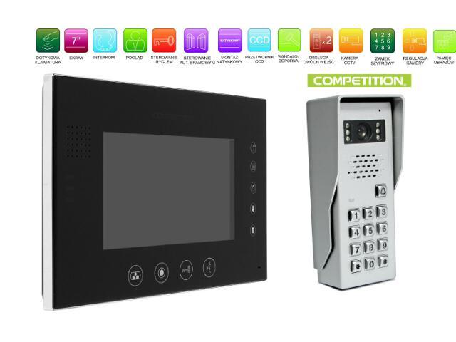 """Videodomofon kolorowy 7"""" LCD z pam. głośnom. + zamek szyfr. MT670C-CK2S1B+SAC50C-CK Competition"""