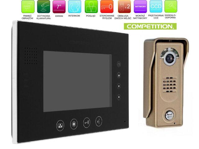 """Videodomofon kolorowy 7"""" LCD głośnom z pamięcią na 400 zdjęć MT670C-CK2SB+SAC5C-CK Competition"""