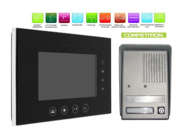 """Videodomofon kolorowy 7"""" LCD głośnom z pamięcią na 400 zdjęć MT670C-CK2SB+SAC25C-CK Competition"""