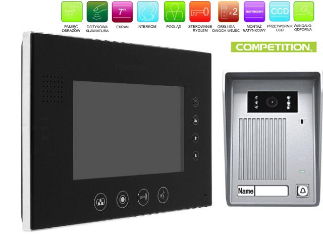 """Videodomofon kolorowy 7"""" LCD głośnom z pamięcią na 400 zdjęć MT670C-CK2SB+SAC35C-CK Competition"""