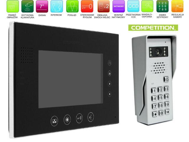 """Videodomofon kolorowy 7"""" LCD z pam. głośnom. + zamek szyfr. MT670C-CK2SB+SAC50C-CK Competition"""
