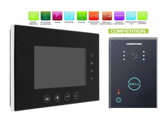 """Videodomofon kolorowy 7"""" LCD głośnom z pamięcią na 400 zdjęć MT670C-CK2SB+SAC651C-CK Competition"""