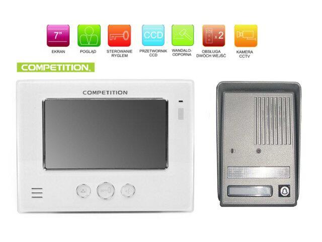 "Videodomofon kolorowy 7"" LCD głośnomówiący MT810C-CK2+SAC25C-CK Competition"